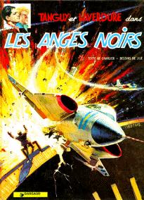 """Ett SAAB 35 """"Draken"""" bombar en kraftverksdamm från omslaget till """"De svarta änglarna"""", omslaget av Yves Thos. © Dargaud."""