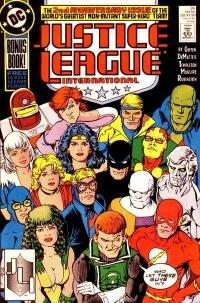 Hela Justice League International (Justice League America + Justice League  Europe) från Justice League International nr 24 (1989). Bild av Kevin  Maguire. 650b38839fbef